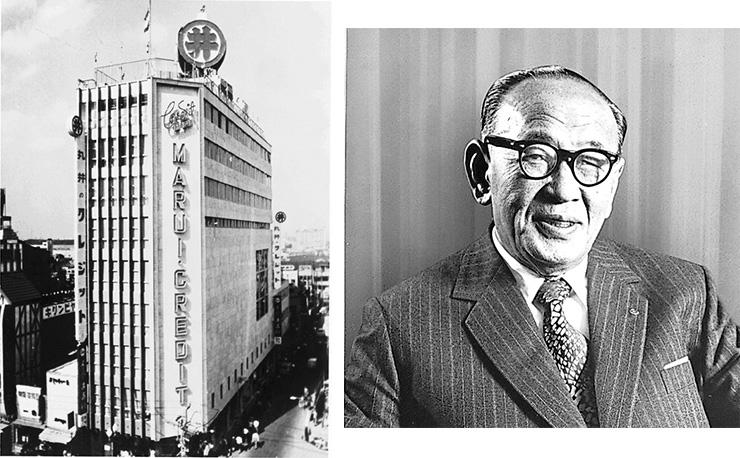1962 年、業界最大(当時)の新宿店をオープン。丸井創業者の青井忠治氏。